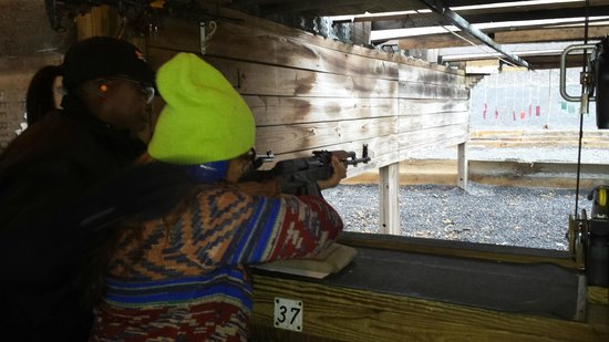 Sunset Hill Shooting Range: The Mrs getting down