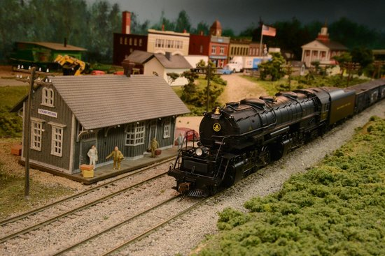 N scale and large HO model train layout at the Garrett