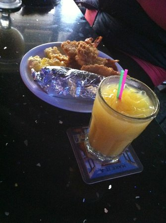 Tiny's Tavern: shrimp, breakfast buritto, eggs  with cheese