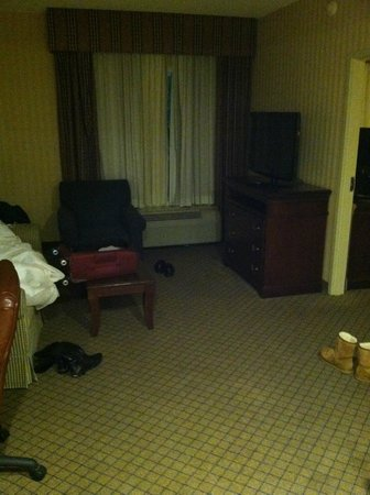 Holiday Inn Express Hotel & Suites West Long Branch: couch, sofa, flat screen tv