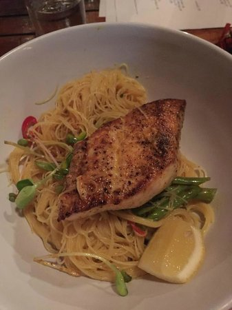 Fatty Crab: Wahoo over rice noodles