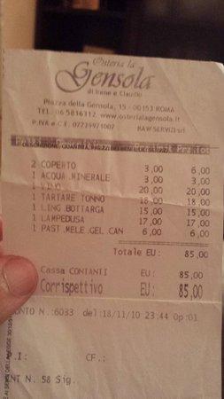 Osteria La Gensola: Il conto