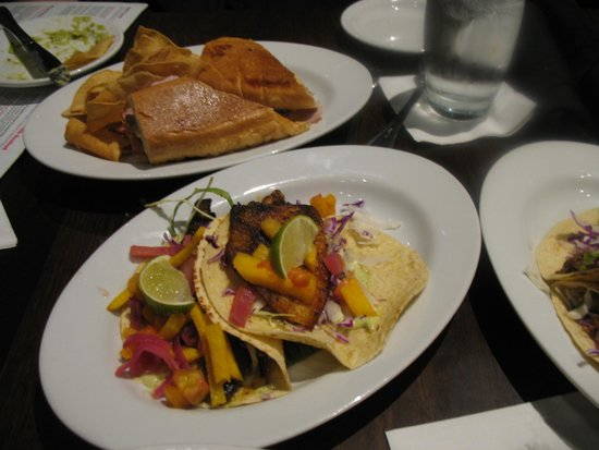 Paladar Latin Kitchen: Blacken Fish And Beef Soft Taco, Cubano Sandwich