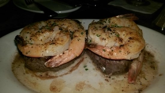 Ruth's Chris Steak House : two 4-ounce medallions of filet, each topped with three jumbo shrimp.