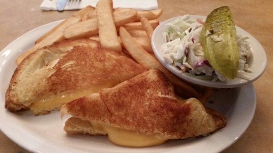 TooJay's: Grilled cheese sandwich and french fries. Plus Cole slaw and a pickle   Very good.
