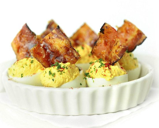 Deviled Eggs with Brown Sugar Bacon - Picture of The Chop House ...