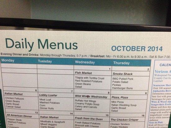 Homewood Suites by Hilton Atlanta Alpharetta : Monthly dinner menu