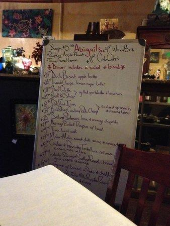Abigail's Restaurant: Very cool menu