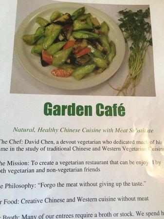 Garden Cafe Restaurant: menu mission