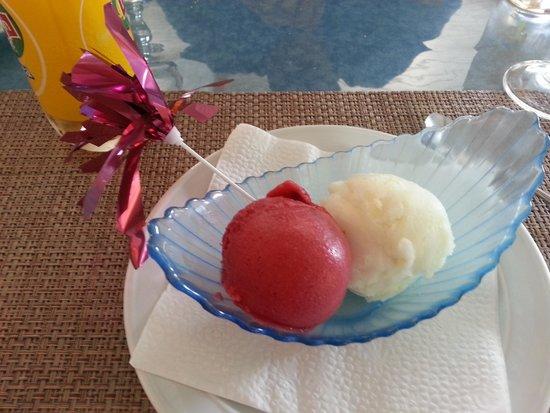 Le Relais Gourmand: Raspberry and lemon sorbet