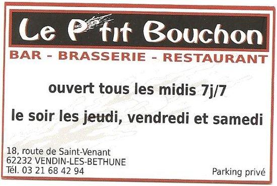 Le P Tit Bouchon Carte N 1 Picture Of Petit Bouchon Vendin Les Bethune Tripadvisor