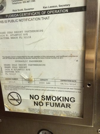 Grand Seas Resort: Expired certificate of safety in the elevator. Stayed at this craptastic place 10/26/2014...almo