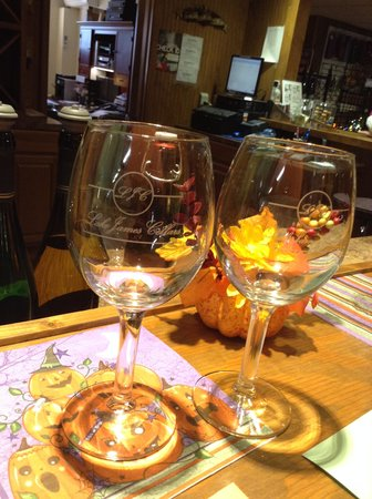Glen Alpine, NC: Wine tasting glasses in the fall.