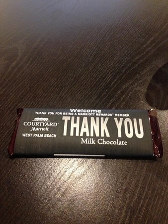 Courtyard West Palm Beach: Your personalized Hershey's bar at check in.. Very nice touch