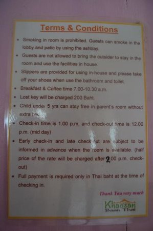 Khaosan Baan Thai: Rules