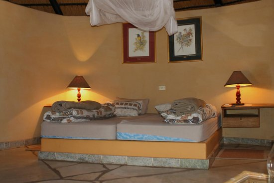 Okambara Elephant Lodge: your BEDS in Rondavell No.1