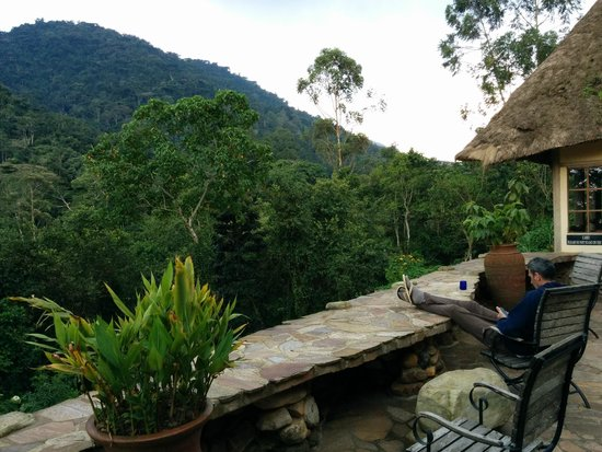 Bwindi Lodge: before dinner, an opportunity to listen to the mountains