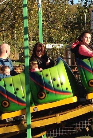 M & D's Scotlands Theme Park : Mum and baby on caterpillar ride
