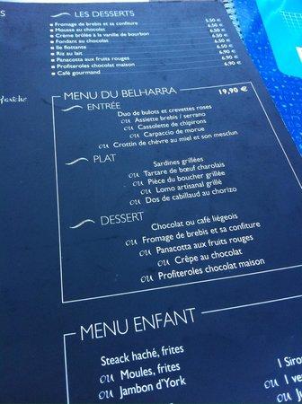 Capbreton, France: Le Menu Belharra