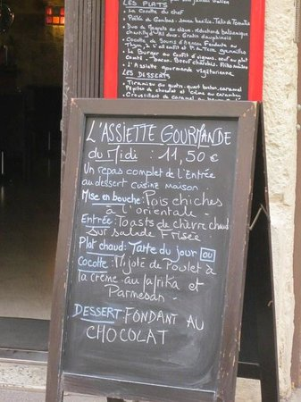 Lunch menu at La Cocotte