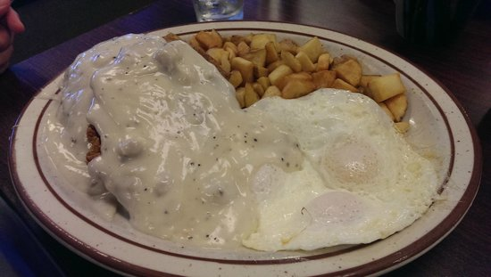 Breakfast at Valerie's: Country fried steak...AND...AND...AND