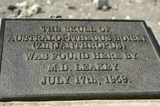 Olduvai Gorge Museum: Memorial plaque