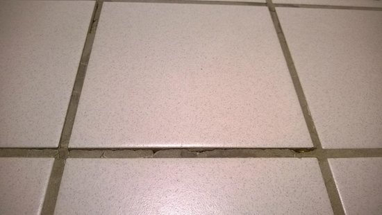 BEST WESTERN Grand Manor Inn: Brocken and missing grout, sharp tile edges