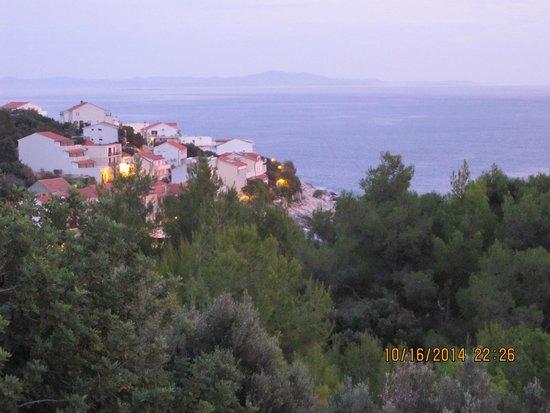 Town of Milna from the balcony of Apartments Marija Magdalena