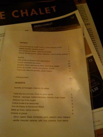 Le Chalet de Neuilly: supplement a la carte
