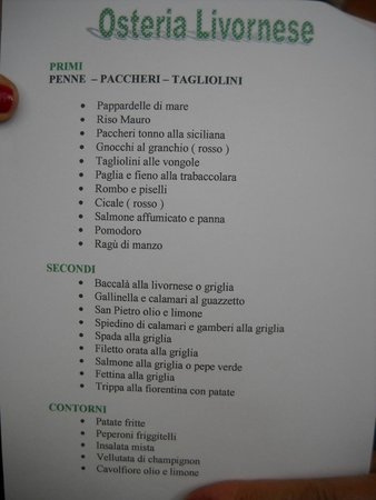 Монтелупо-Фьорентино, Италия: il menù a prezzo fisso
