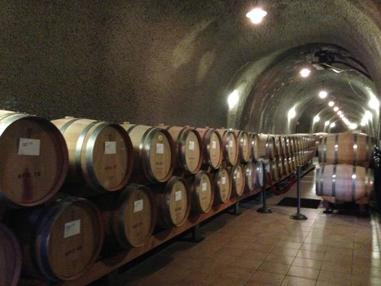 Pine Ridge Winery: View of barrels in the caves