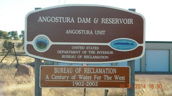 Angostura Recreation Area: Angostura Dam Sign
