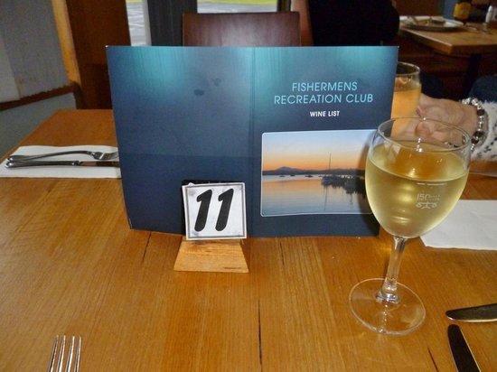 Fishermens Recreation Club: Wine list