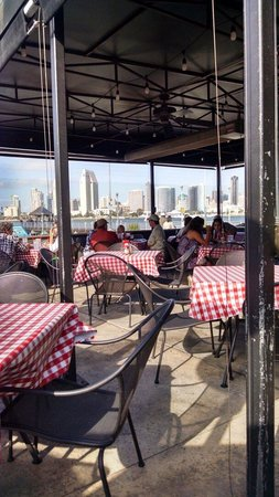 Village Pizzeria Bayside: Seating and downtown San Diego view !