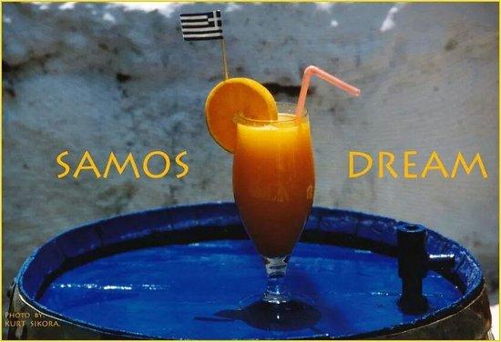 Blue Chairs : fresh orange juice  from samos