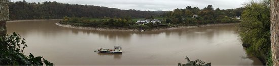 Chepstow Castle: View over the river from the castle cellar