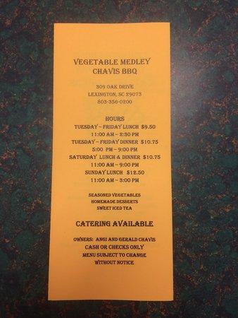Vegetable Medley: Updated menu 10/29/14