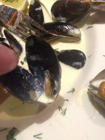 The Old Boathouse: Worlds smallest mussels. A whole bowl of them.