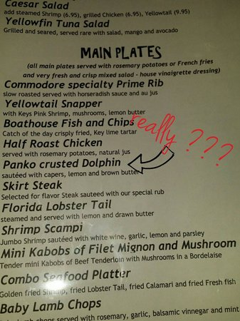 Commodore Waterfront Restaurant: Really??? Are they serve dolphin? ? ?