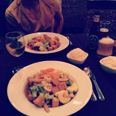 Thai House: tofu and veggies, rice, sticky rice