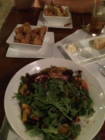 Southernmost Beach Cafe: Goat cheese and beet salad with shrimp, tots with Parmesan and truffle oil and Mac & Cheese with