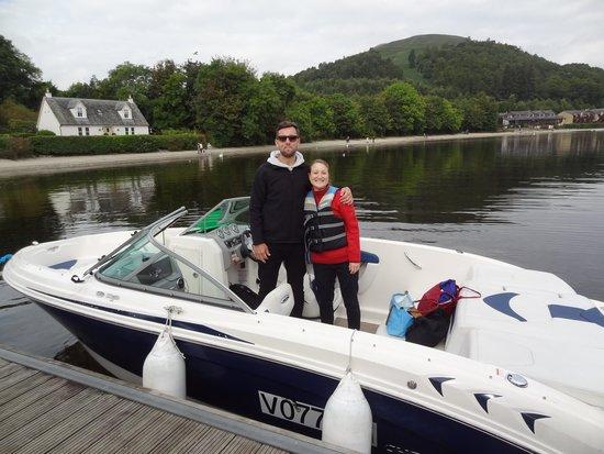 Loch Lomond Leisure Scotland: Loch Lomond Leisure boat and our guide, Richard