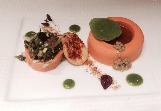 Rasoi by Vineet: Pumpkin panna cotta, tomato biscuit, olive caviar