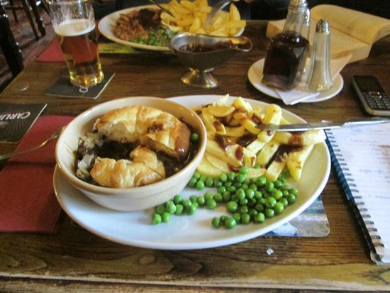 Steak and ale pie, chips and peas - Picture of Angel Inn ...