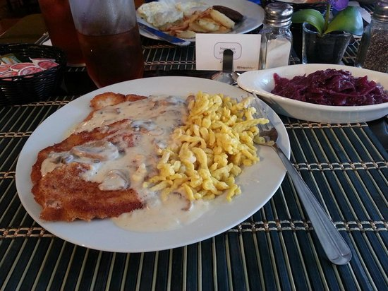 Heidi's Island Bistro: Jaeger Schnitzel with Mushroom Sauce, Spaetzle and Red Cabbage