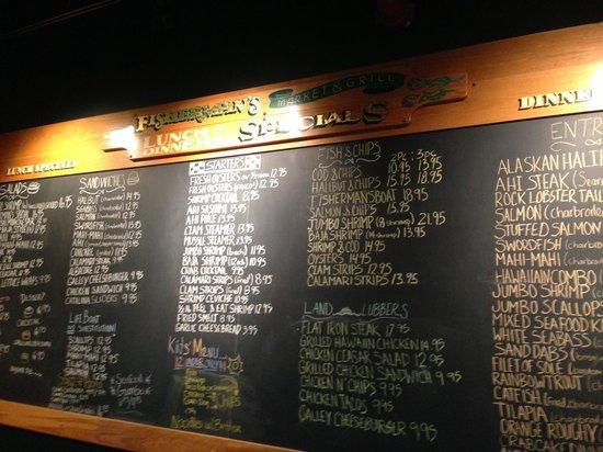 Fisherman's Market & Grill: Each day's menu is on the chalk board.