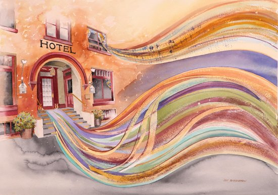 "The Van Gilder Hotel: ""Unforgettable Night at the Van Gilder"" painting by Dot Bardarson"