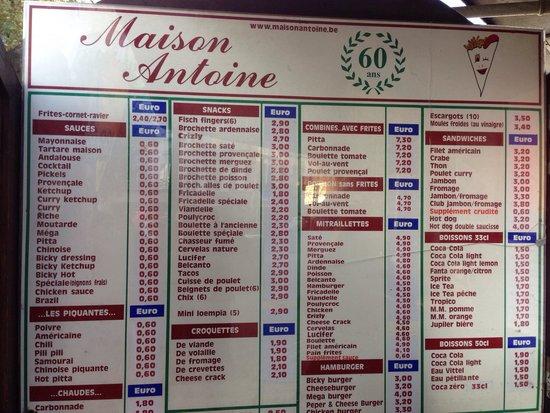 Maison Antoine : La carte ... Tres complete