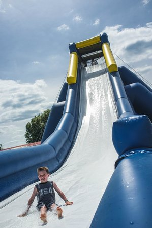Remington, IN: A look at the 35' Hippo Slide, the world's largest inflatable water slide.