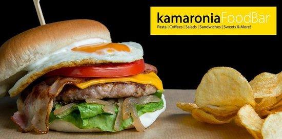 Kamaronia Food Bar: Ohh! thats a reeeaall big burger!!!!!!